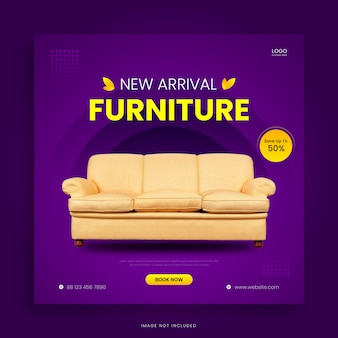 Modèle de publication sur les médias sociaux de vente de meubles modernes