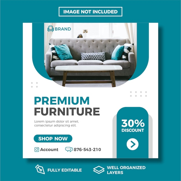 Modèle de publication de médias sociaux de vente de meubles.