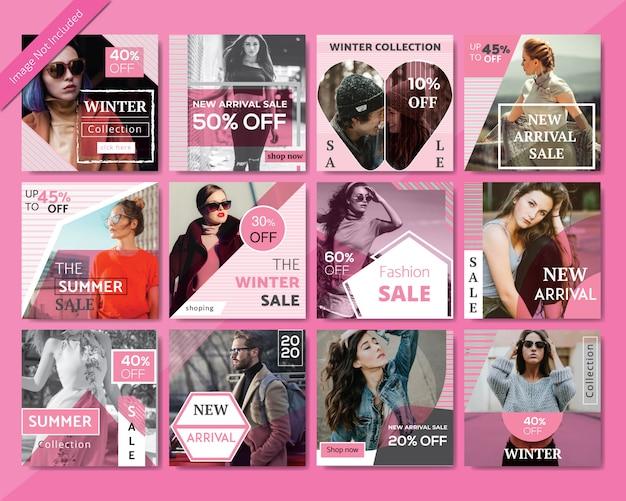 Modèle de publication de médias sociaux sur la vente de mode