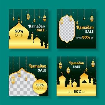 Modèle de publication de médias sociaux de vente de ramadan