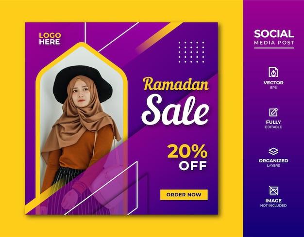 Modèle de publication de médias sociaux de vente de ramadan.