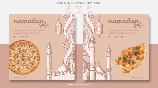 Modèle de publication sur les médias sociaux de vente ramadan