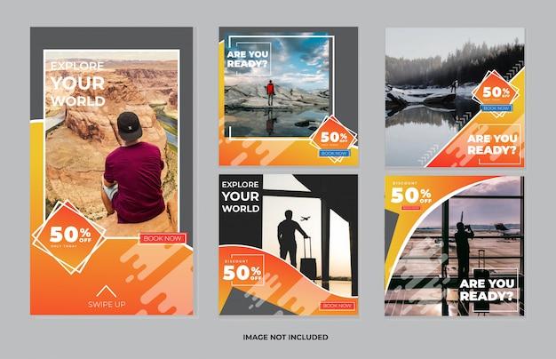 Modèle de publication de médias sociaux de voyage et ensemble de collection de histoires