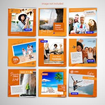 Modèle de publication de médias sociaux de voyage