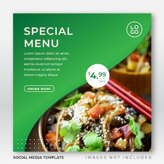 Modèle de publication de menu alimentaire instagram