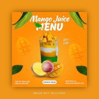 Modèle de publication de menu de jus de mangue d'été sur les médias sociaux