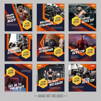 Modèle de publication pour les médias sociaux de gym fitness