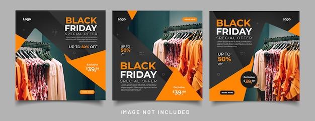 Modèle de publication de réduction de vente vendredi noir sur les médias sociaux.