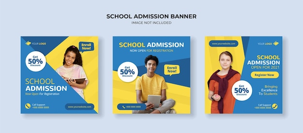 Modèle de publication sur les réseaux sociaux d'admission à l'école pour le premier et le deuxième cycle du secondaire
