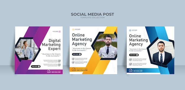 Modèle de publication sur les réseaux sociaux d'une agence de marketing en ligne moderne