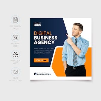 Modèle de publication sur les réseaux sociaux d'agence de marketing numérique