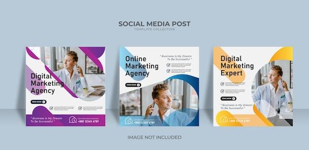 Modèle de publication sur les réseaux sociaux de l'agence de marketing onine élégante