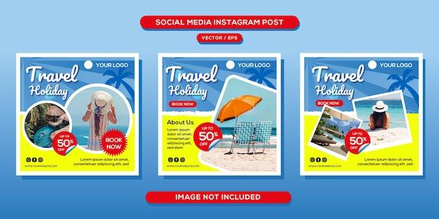 Modèle de publication sur les réseaux sociaux d'une agence de voyage