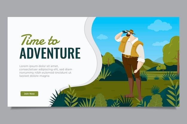 Modèle de publication sur les réseaux sociaux d'aventure