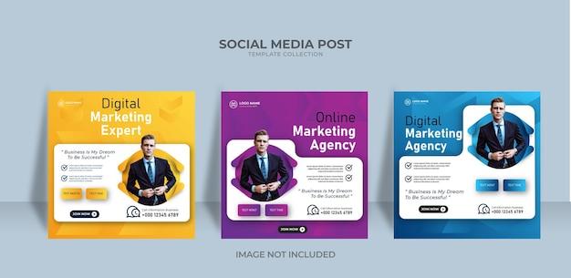 Modèle de publication sur les réseaux sociaux de bannière d'agence de marketing en ligne