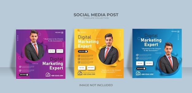 Modèle de publication sur les réseaux sociaux de bannière d'agence de marketing professionnel en ligne