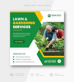 Modèle de publication sur les réseaux sociaux et de bannière web du service de jardin de pelouse