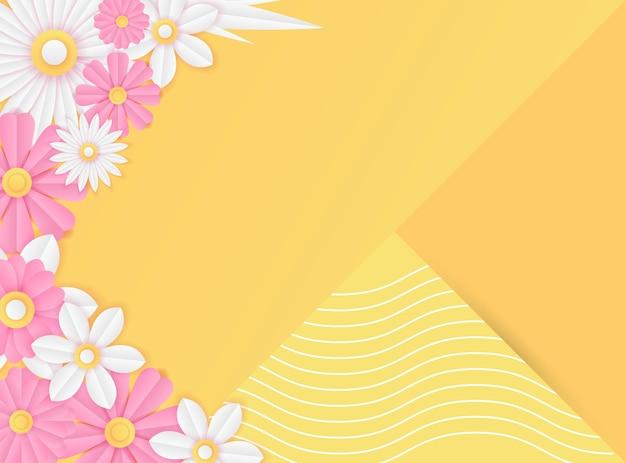 Modèle de publication sur les réseaux sociaux avec décoration de fleurs fraîches coupées en papier de couleur rose et jaune. modèle de publication instagram dynamique moderne