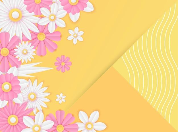 Modèle De Publication Sur Les Réseaux Sociaux Avec Décoration De Fleurs Fraîches Coupées En Papier De Couleur Rose Et Jaune. Modèle De Publication Instagram Dynamique Moderne Vecteur Premium