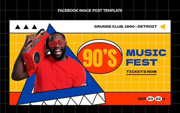 Modèle de publication sur les réseaux sociaux du festival de musique nostalgique plat des années 90