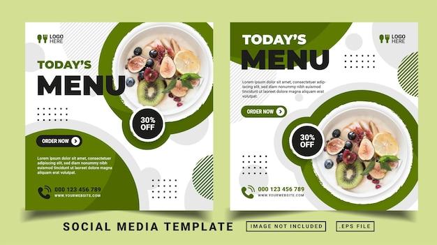 Modèle de publication sur les réseaux sociaux du menu du jour. flyer ou publication dans les médias adaptés à la vente promotionnelle