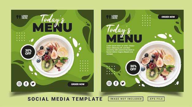 Modèle de publication sur les réseaux sociaux du menu du jour. flyer ou publication médiatique adaptée à la vente promotionnelle