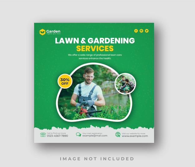 Modèle de publication sur les réseaux sociaux du service d'entretien paysager ou de jardin de pelouse élégant