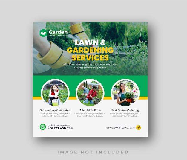 Modèle de publication sur les réseaux sociaux du service de jardinage ou d'aménagement paysager