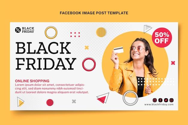 Modèle de publication sur les réseaux sociaux du vendredi noir plat
