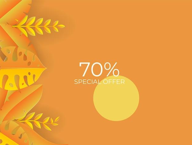 Modèle de publication sur les réseaux sociaux avec éléments floraux et feuilles. fond d'automne jaune frais avec palmier, feuilles, monstera. illustration vectorielle pour invitation, carte postale, vente de mode