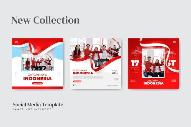 Modèle de publication sur les réseaux sociaux de la fête de l'indépendance de l'indonésie le 17 août