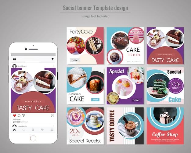 Modèle de publication sur les réseaux sociaux de gâteau