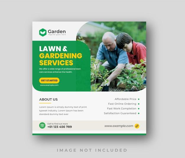 Modèle de publication sur les réseaux sociaux et instagram du service d'entretien des pelouses