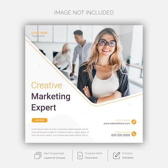 Modèle de publication sur les réseaux sociaux et instagram de marketing créatif