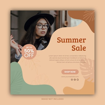 Modèle de publication sur les réseaux sociaux et instagram des soldes d'été