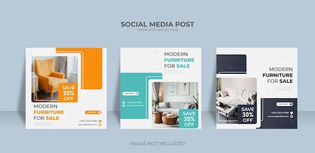 Modèle de publication sur les réseaux sociaux et instagram de vente de meubles