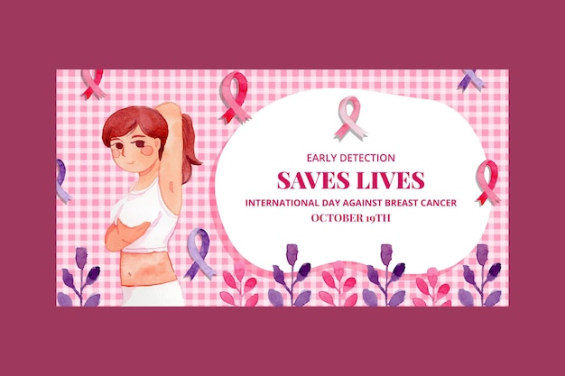 Modèle de publication sur les réseaux sociaux de la journée internationale de l'aquarelle contre le cancer du sein