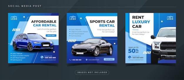 Modèle de publication sur les réseaux sociaux de location de voitures automobiles