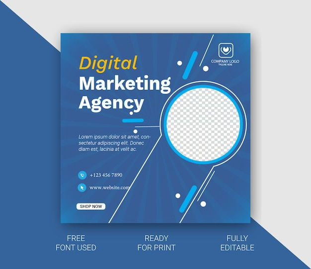 Modèle de publication sur les réseaux sociaux de marketing d'entreprise numérique