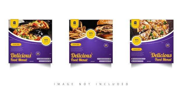 Modèle de publication sur les réseaux sociaux de menu de plats délicieux