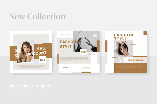 Modèle de publication sur les réseaux sociaux de mode minimaliste