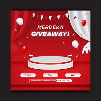 Modèle de publication sur les réseaux sociaux pour le concours de cadeaux de la fête de l'indépendance de l'indonésie avec podium et ballons