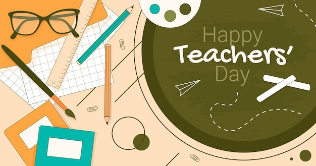 Modèle de publication sur les réseaux sociaux pour la journée des enseignants dessinés à la main