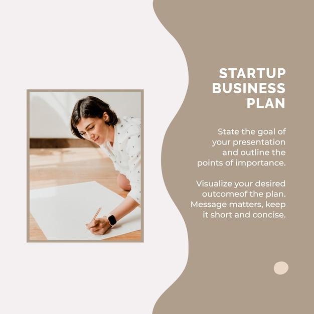 Modèle de publication sur les réseaux sociaux pour le plan d'affaires de démarrage