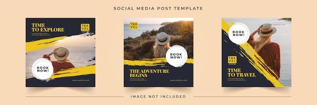 Modèle de publication sur les réseaux sociaux de vacances de voyage