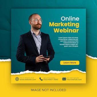 Modèle de publication sur les réseaux sociaux de webinaire en direct sur le marketing numérique