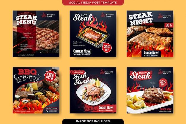 Modèle de publication de steak sur les réseaux sociaux