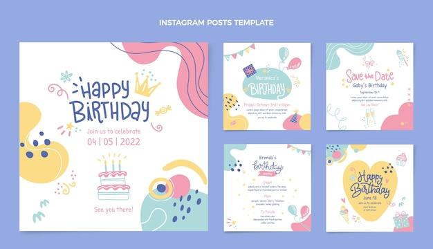 Modèle de publications instagram anniversaire dessiné à la main
