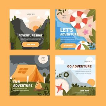 Modèle de publications instagram aventure plat
