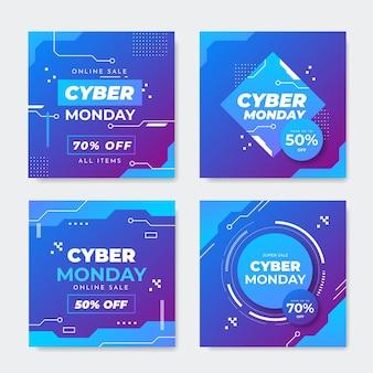 Modèle de publications instagram de cyber lundi glacé
